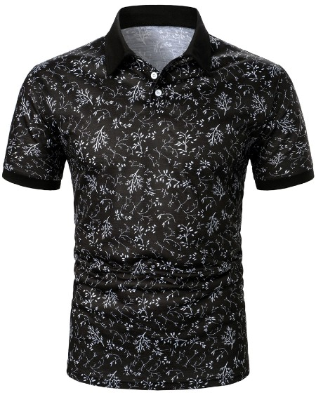 Mens All Over Print Short Sleeve Polo Shirt