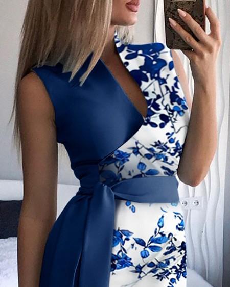 Floral Print Tied Detail Sleeveless Dress With Belt Elegant Slim Work Dress