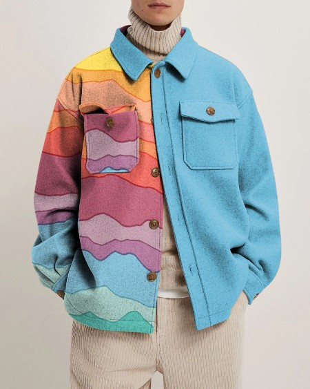 Teens Fashion Patchwork Long Sleeve Button Up Pockets Jacket
