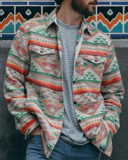 Tribal Print Color Block Long Sleeve Jacket