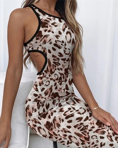 Contrast Binding Cutout Sleeveless Leopard Print Midi Dress