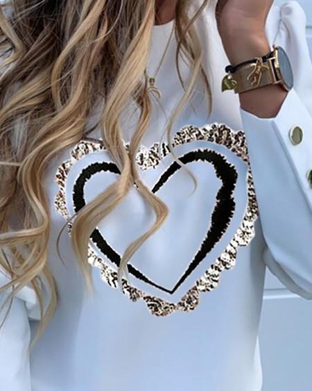 Puffed Sleeve Heart Print Button Design Top