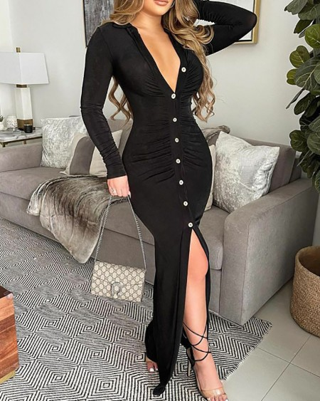 Long Sleeve Ruched Button Design Slit Maxi Dress