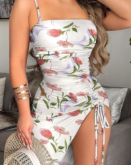 Floral Print Drawstring Ruched High Slit Cami Dress