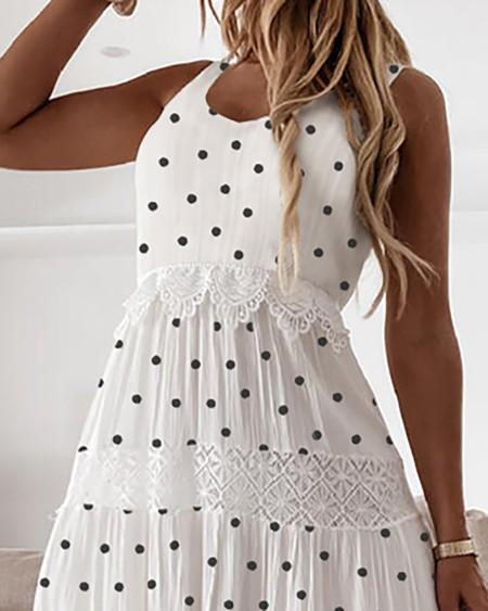 Polka Dot Print Lace Patchwork Sleeveless Dress