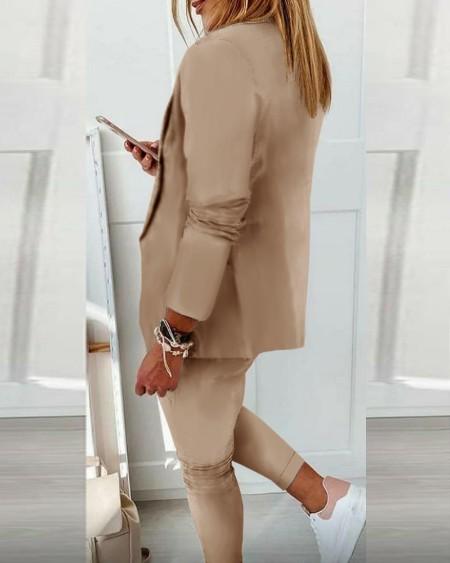 Lapel Neck Blazer Coat & Drawstring Pants Set