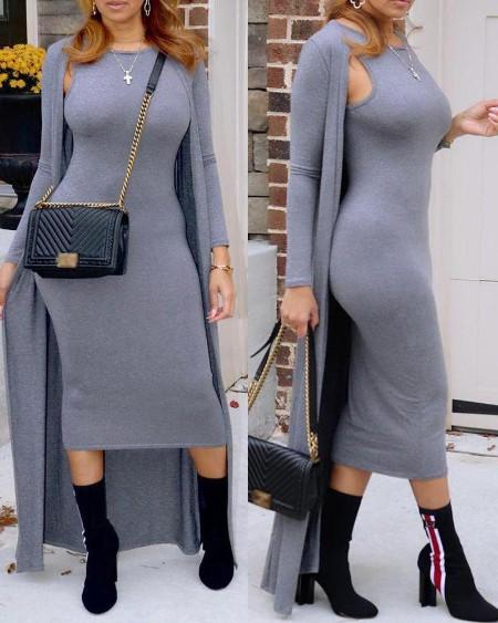 Sleeveless Skinny Dress With Cardigan