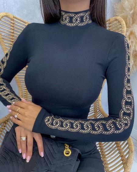 Rhinestone Long Sleeve Mock Neck Cutout Skinny Top