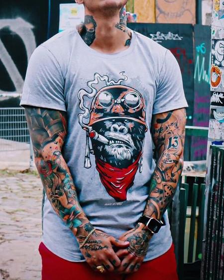 Creative Orangutan Print Short Sleeve T-shirt