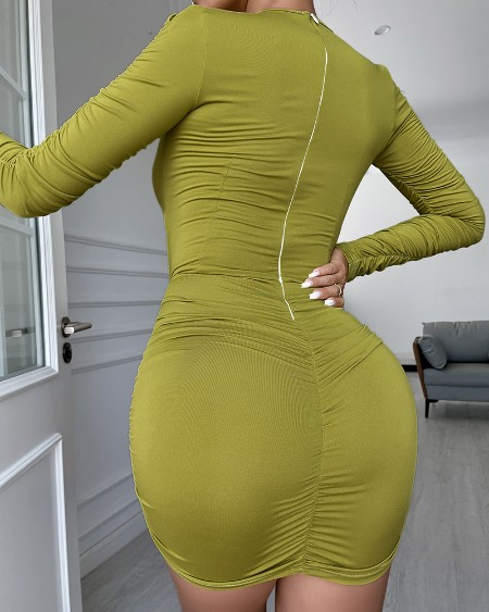 Cut-Out Ruched Long Sleeve Bodycon Dress