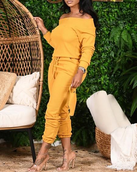 Plus Size Plain Long Sleeve Top & Drawstring Pants Set
