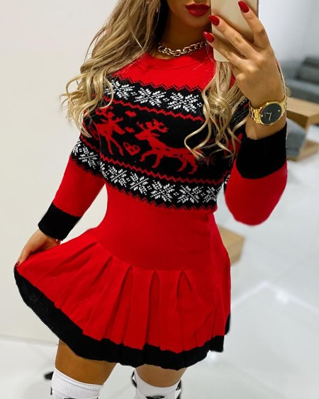 Christmas Reindeer Print Long Sleeve Pleated Dress