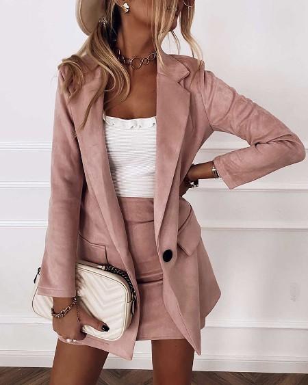 Plain Pocket Design Blazer Coat & Skirt Set