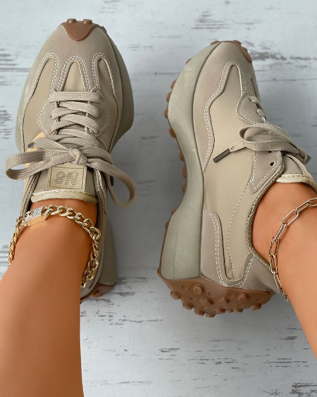 Colorblock Lace-up Suede Muffin Sneakers