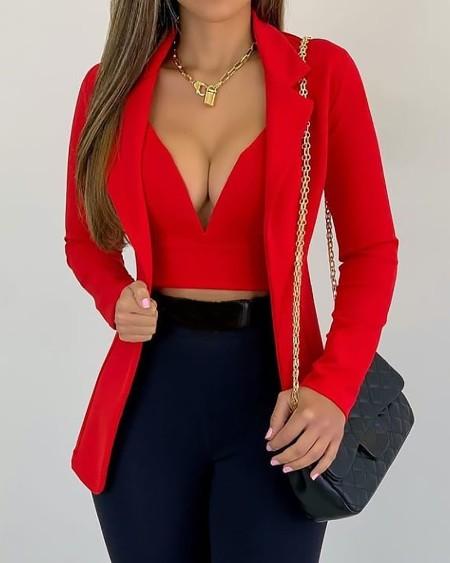 Plunge Crop Top & Long Sleeve Blazer Coat Set