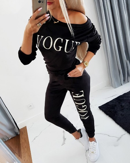 Letter Print Long Sleeve Sweatshirt & Pocket Design Pants Set