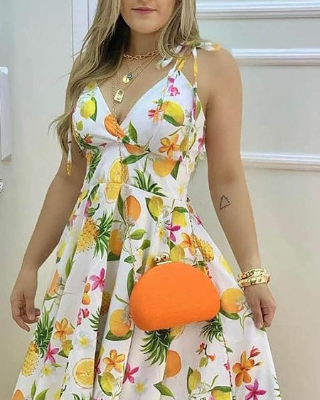 Fruit Print Tied Detail Casual Dress