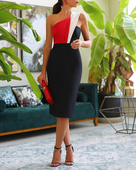 Color Block One Shoulder Sleeveless Skinny Party Dress