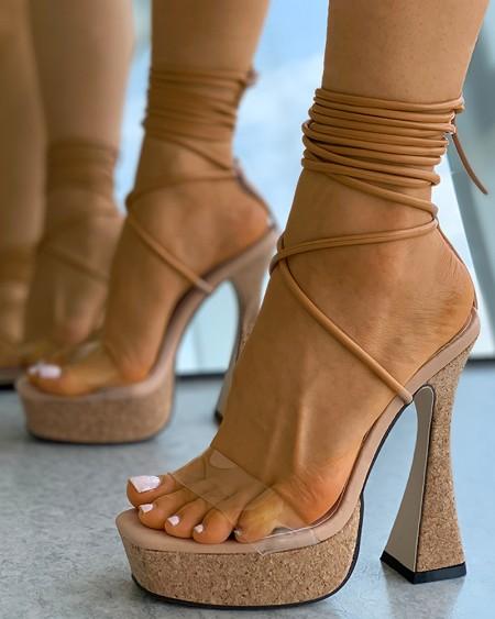 Clear Perspex Cork Strappy Pyramid Heels