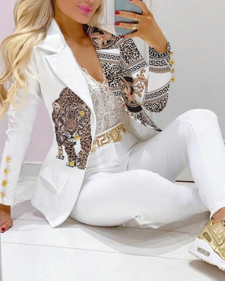 Chain Animal Print Lapel Collar Flap Detail Double Breasted Blazer Coat Elegant Work Blazer Coat