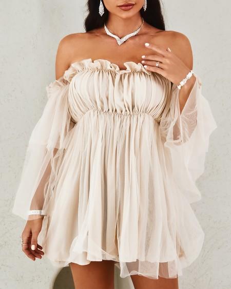 Solid Off Shoulder Frill Trim Layered Mesh Dress