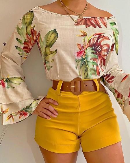Floral Print Layered Ruffles Top & Plain Shorts Set