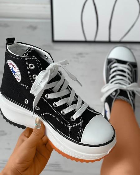 Eyelet Lace-up Flatform Canvas Sneaker