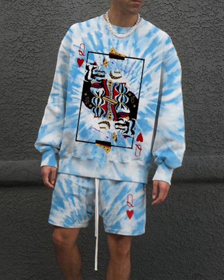 Tie Dye Splicing Poker Print Short Sleeve Blouse With Short Pants Suit Sets