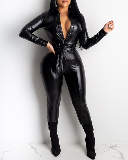 Button Front Long Sleeve PU Leather Jumpsuit