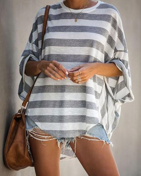 Striped Batwing Loose Three Quarters Sleeve T-shirts