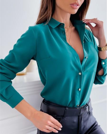 Pocket Design Long Sleeve Buttoned Shirt