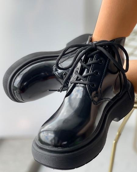Eyelet Lace-up Flatform Boots
