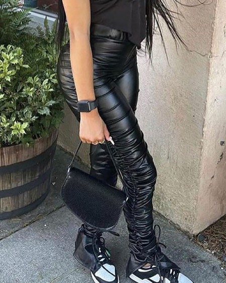PU Leather Ruched Drawstring High Waist Pants