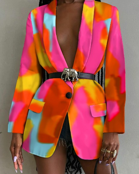 Tie Dye Shawl Collar Flap Detail Single Button Blazer