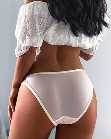 Plain Cut-Out Detail Cotton Panties