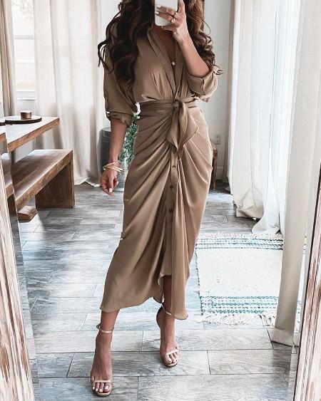 High Slit Button Front Long Sleeve Shirt Dress