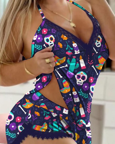 Halloween All Over Print Contrast Lace Bowknot Decor Cami Set