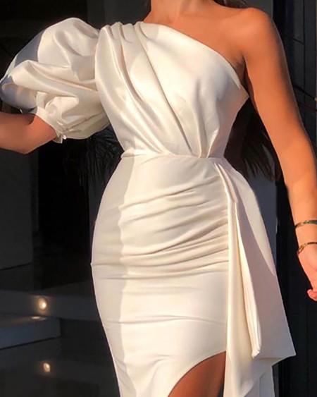 One Shoulder Short Sleeve Puff Sleeve Ruched Slit Dress Plain Chic Slim Party Dress