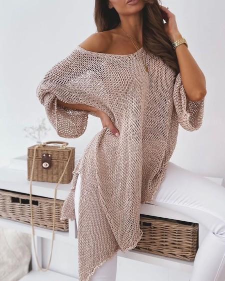 V-Neck Drop Shoulder Split Hem Open Knit Sweater