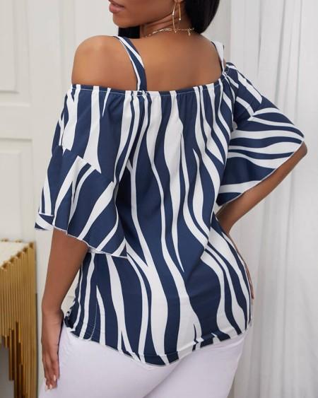 Zebra Stripe Print Cold Shoulder Bell Sleeve Top