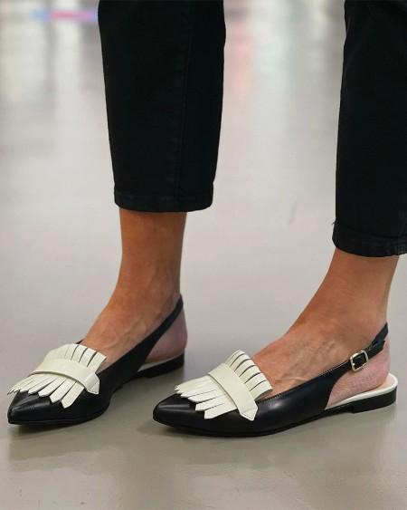 Tassel Patch Upper Sling Back Flat Sandals