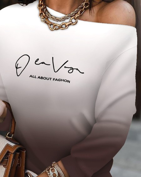 Ombre Letter Print O-neck Top