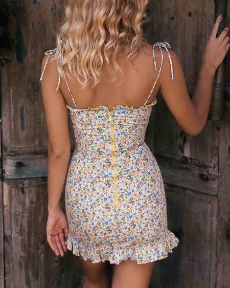 Ditsy Florall Print Strap Pleated Mini Dress