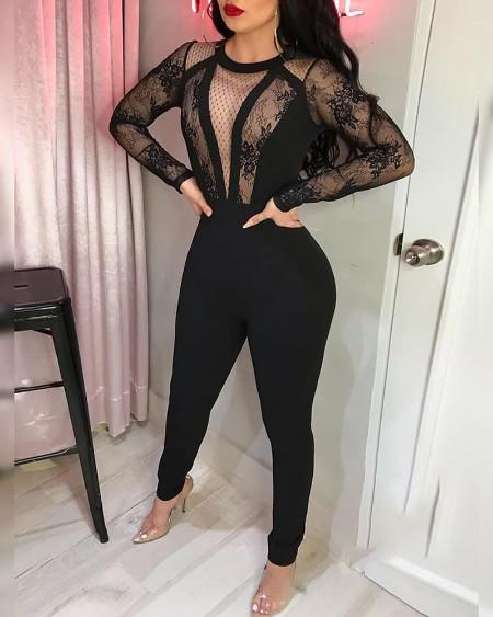 Long Sleeve Crochet Lace Dot Mesh Skinny Jumpsuit