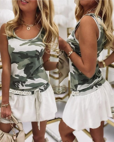 Camouflage Print Colorblock Sleeveless Tank Dress