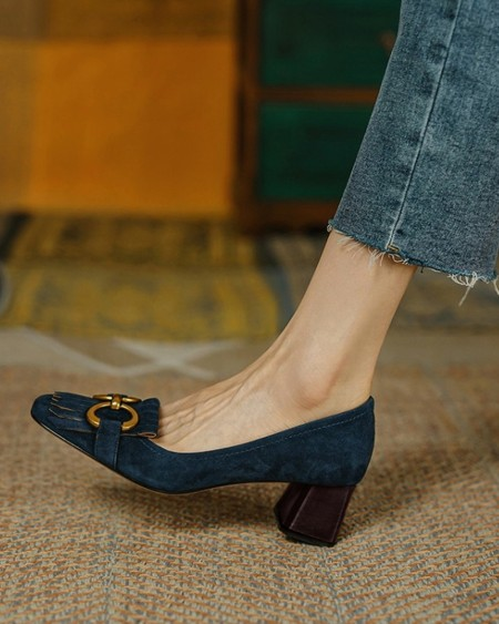 Square-toe Suede Leather Splicing Tassel Buckle High Heels