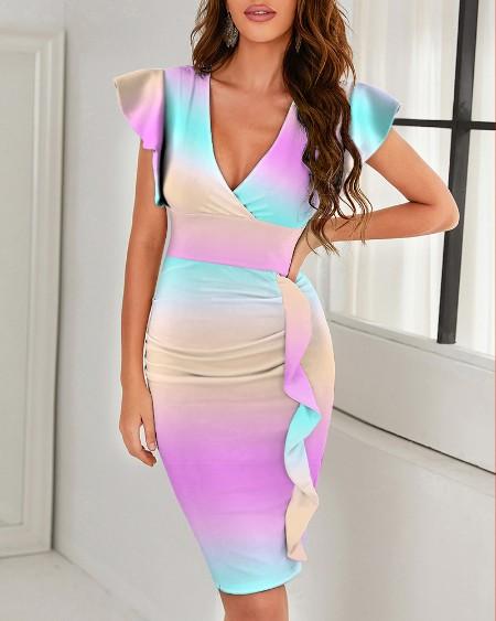 Multicolor Print V-Neck Pleated Slit Dress