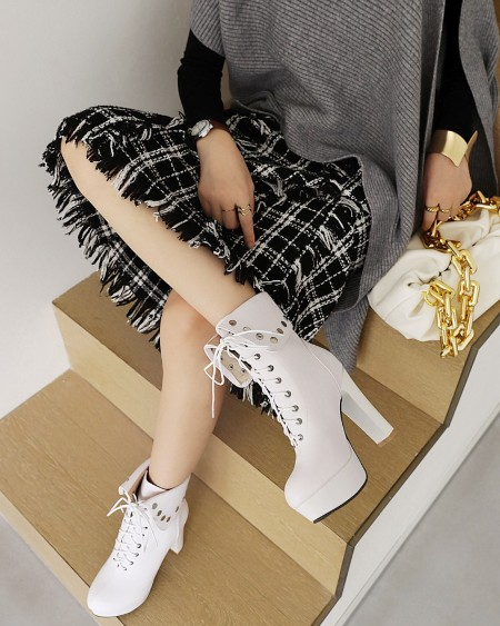 Womens Lace-up Round Toe Wax Finish High Heel Boots