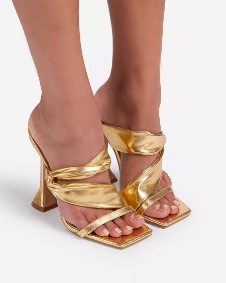 Solid Twist Open-toe High Heel Sandals