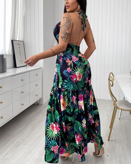 Tropical Print Halter Backless Maxi Dress